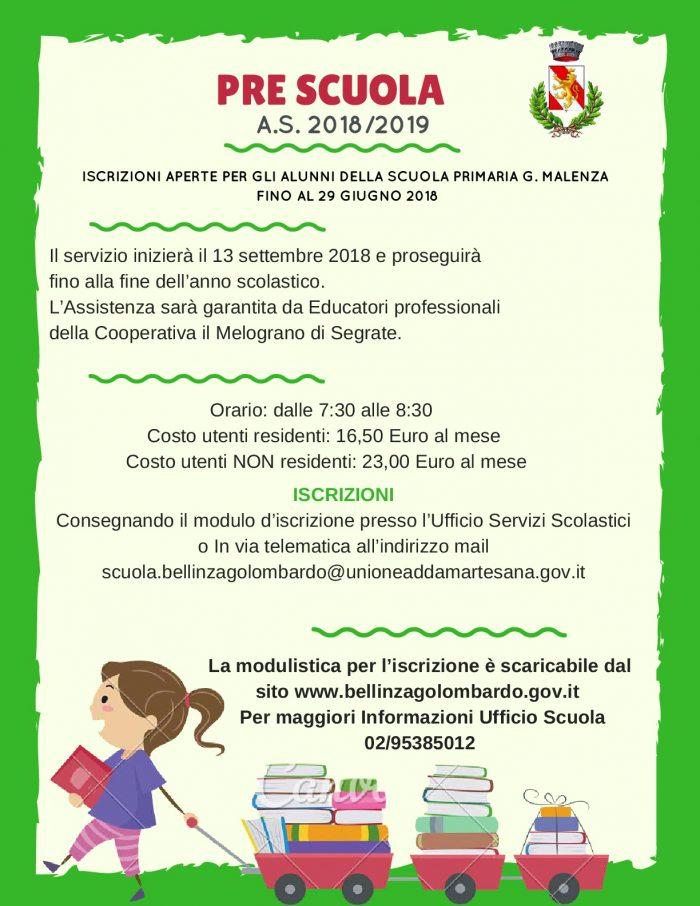 volantino attivazione pre scuola primaria 2018/2019