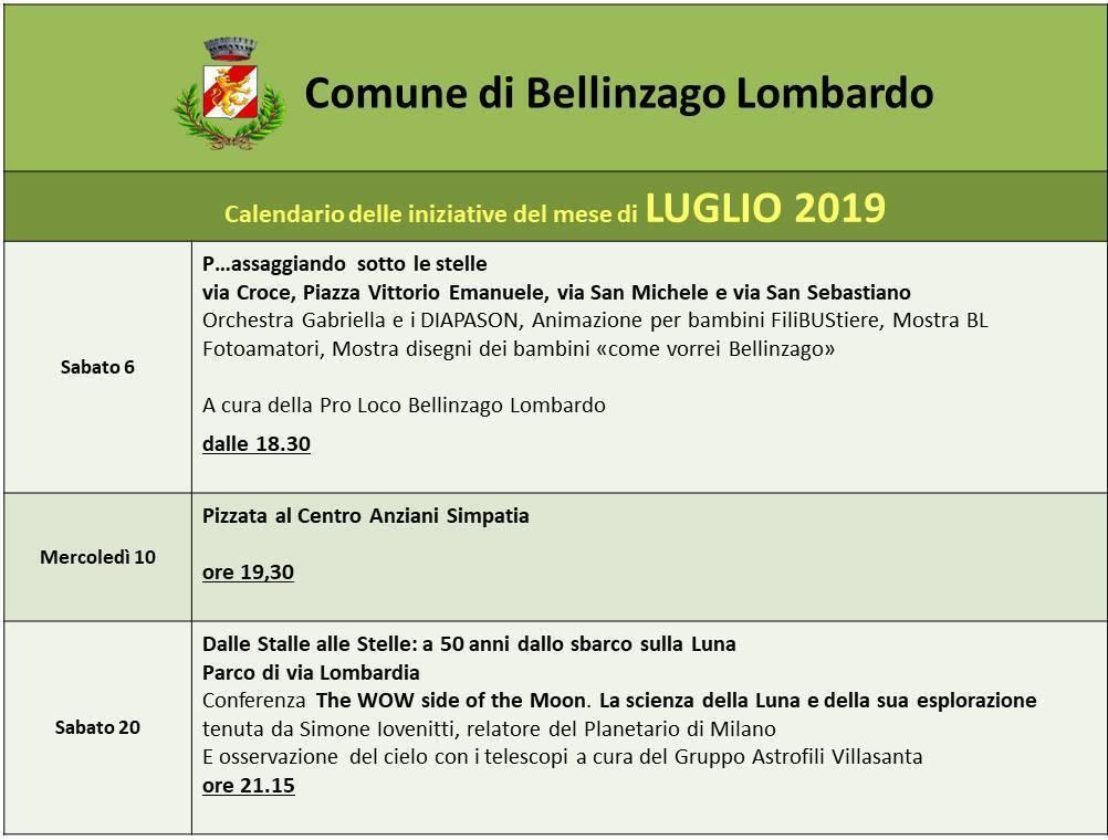 San Simone Calendario.Calendario Eventi E Manifestazioni Del Mese Di Luglio 2019